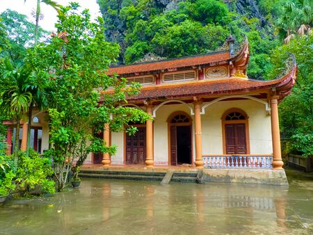 Thai Vi temple on Tam Coc river, Ninh Binh, Vietnam