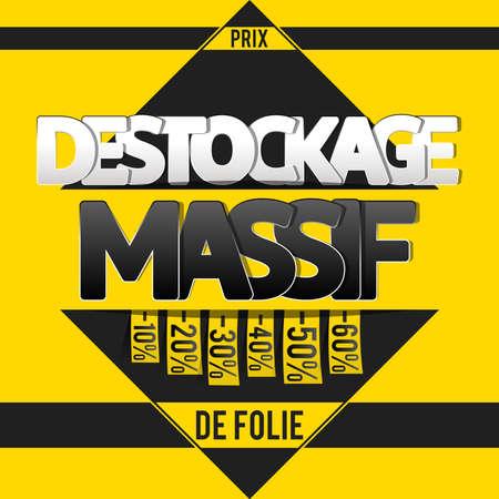 Destockage: french translation for destocking banner, flyer or poster design template