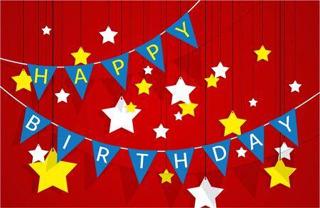 Decorative pennant garland happy birthday greeting card vector illustration
