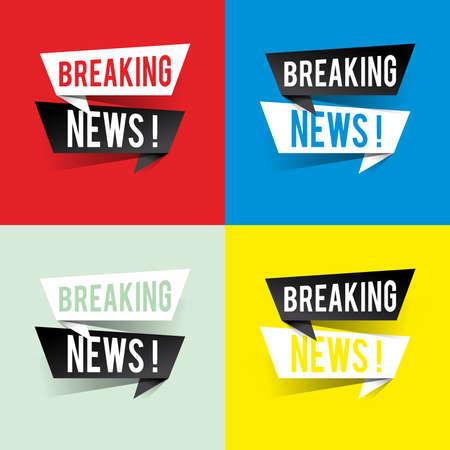 Modern design breaking news text on speech bubbles concept. Vector illustration