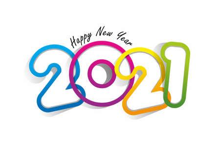 Happy new year 2021 celebration greeting card design Vetores