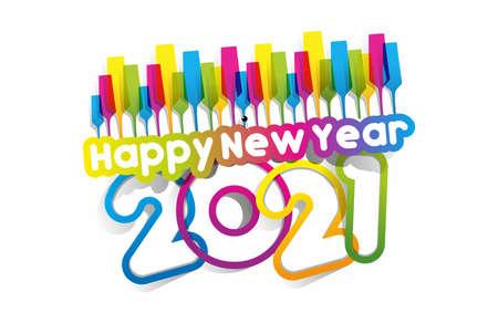 Happy new year 2021 celebration greeting card design  イラスト・ベクター素材