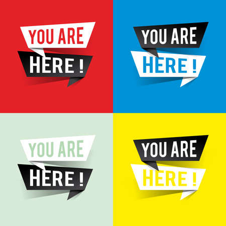 Modern design you are here text on speech bubbles concept. Vector illustration