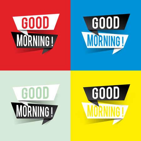 Modern design good morning text on speech bubbles concept. Vector illustration