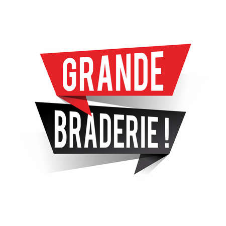 Modern design grande braderie text in french means big clearance sale on speech bubbles concept. Vector illustration