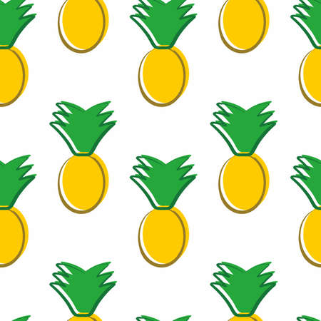 Seamless minimalist pineapple pattern. Summer tropical textile print. Vector illustration Ilustrace