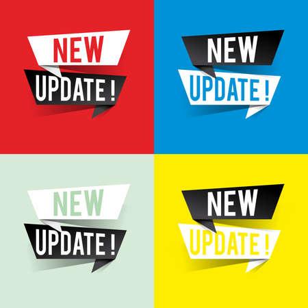 Modern design new update text on speech bubbles concept. Vector illustration