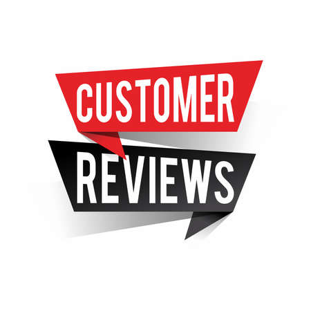 Modern design customer reviews text on speech bubbles concept. Vector illustration