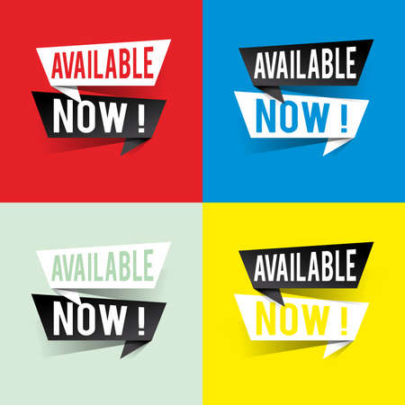 Modern design available now text on speech bubbles concept. Vector illustration