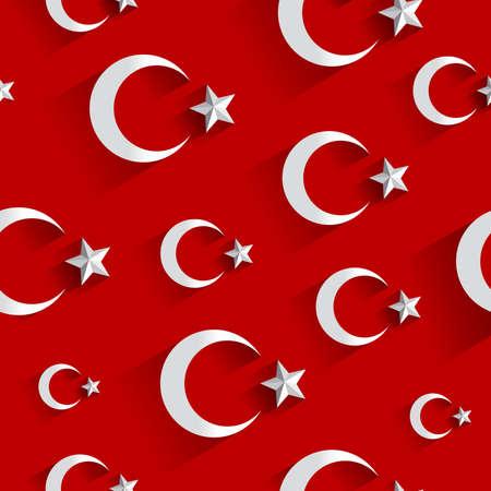 Turkish flag pattern. Modern flag of Turkey on red background vector illustration Ilustrace