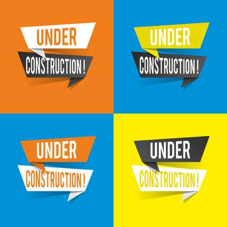 Modern design under construction text on speech bubbles concept. Vector illustration
