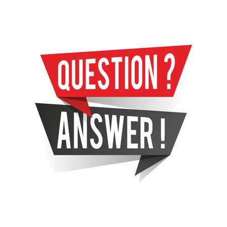 Modern design question answer text on speech bubbles concept. Vector illustration