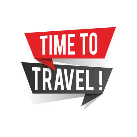 Modern design time to travel text on speech bubbles concept. Vector illustration Ilustrace