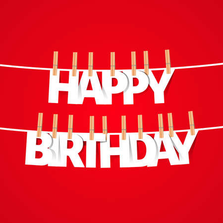 Happy birthday greeting card with hanging letters vector illustration