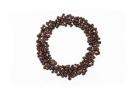 Coffee beans frame isolated on white background