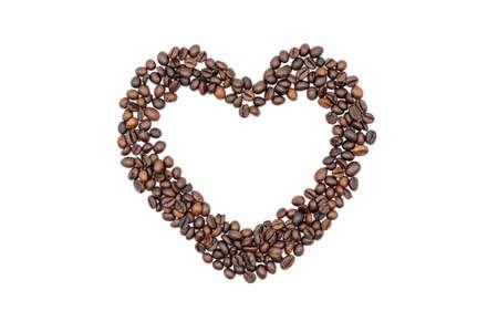 Coffee beans heart frame isolated on white background Reklamní fotografie