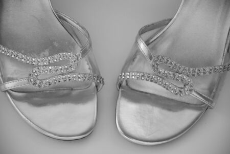 Black and white jewel shoe closeup Imagens