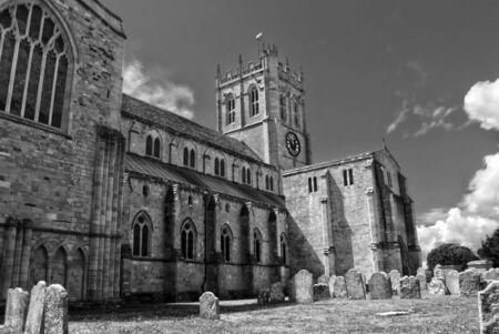 priory: Christchurch Priory in monochrome Stock Photo