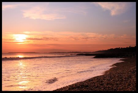 hengistbury: Sunset over Hengistbury Head, Christchurch, Dorset