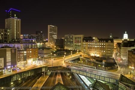 view of birmingham city at night