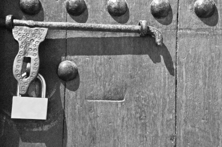 Old lock on door Stock Photo