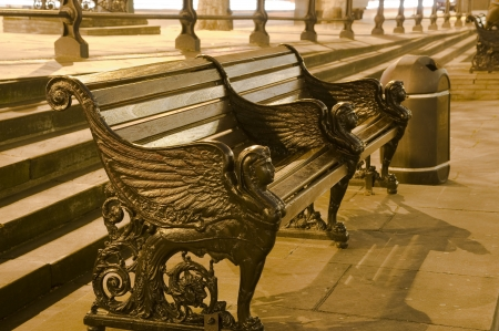 Bench in London at night