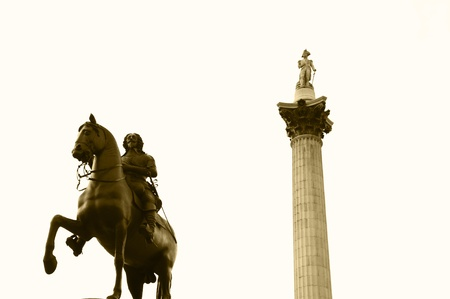 Horse rider and column in London Editorial