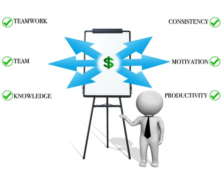 Business man figure pointing at chart Stock Photo - 17901662