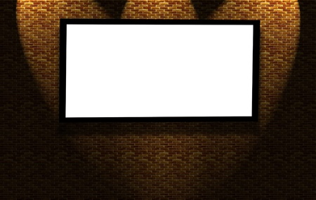 Blank advertising board on brick wall Stock Photo