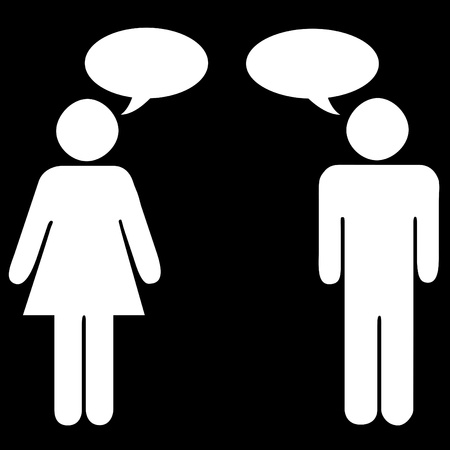 Male and female silhouettes with speech bubbles