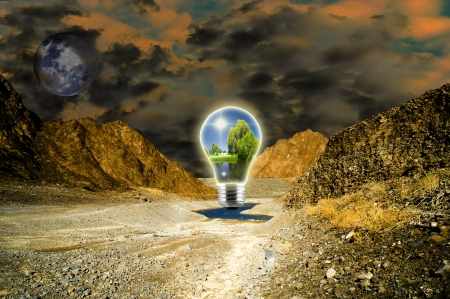 Dramatic landscape showing a bulb of hope Stock Photo