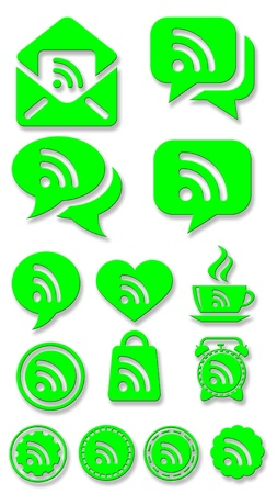Set of green rss icons