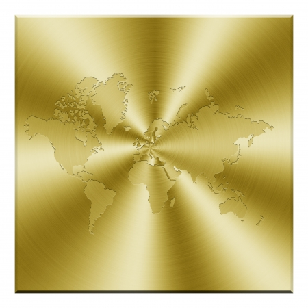Golden world map photo