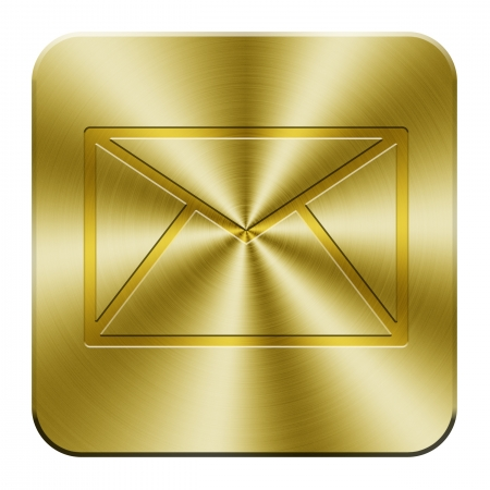 Golden e-mail icon key Stock Photo