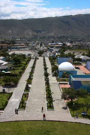 0 geography: Mittad del mundo, middle of the world t latitude 0 in Ecuador Editorial