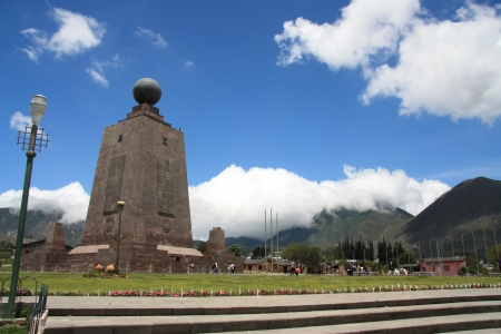 0 geography: Mittad del mundo, middle of the world t latitude 0 in Ecuador Stock Photo