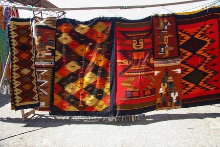 quechua: Quechua carpets hanged on a rope  Ecuador Stock Photo