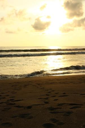 ocea: Sunset on a beach on the pacific ocean  Ecuador