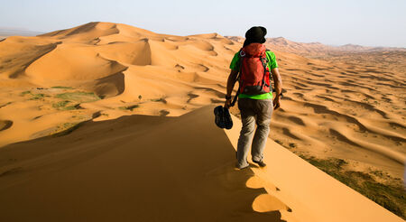 Back view of a guide on the top of a dune in the middle of the sahara desert in Morocco. One person, landscape photo