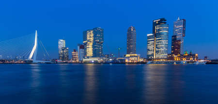 blue hour: Rotterdam skyline at blue hour.  landscape, nobody Stock Photo