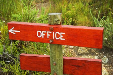 Sign indicating direction to the office. Stock Photo - 474625