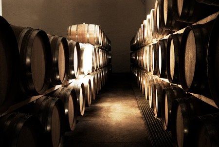 cask: French Oak barrels with wine being stored in Pleisir de Merle wine cellar in Franschhoek, Western Cape, South Africa