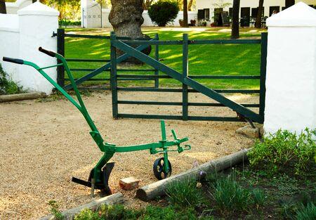 plough: Metal plough standing in the herb garden