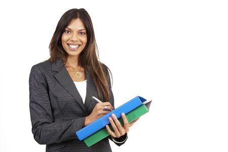 sexy secretary: Hermosa mujer morena en traje pinstripe la celebraci�n de su archivos. Aislado en fondo blanco con copia espacio  Foto de archivo