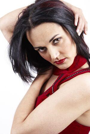 red evening: Beautiful mature brunette woman wearing a red evening dress