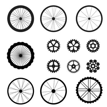 Bicycle wheel and chain wheel, spares parts of bicycle. Illustration