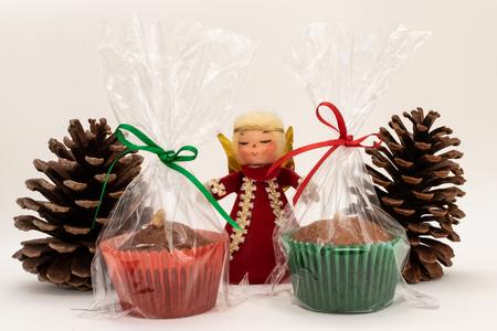 Medevnek, Ukrainian cookie. Christmas cookies in decoration with pine, angel and Christmas wreath. Stock Photo