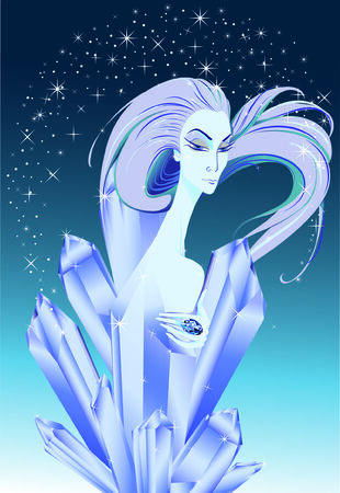 longhaired: snow queen in crystals Illustration