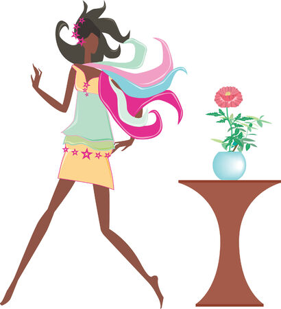 A girl with a flower Illustration