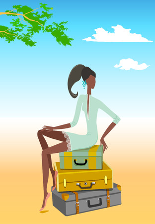 Girl on the suitcases